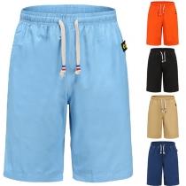 Fashion Solid Color Drawstring Waist Knee-length Shorts