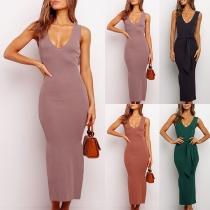 Sexy Backless Slit Hem Solid Color Slim Fit Knit Dress