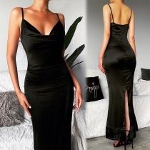 Sexy Backless V-neck Tassel Hem Sling Party Dress
