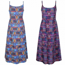 Ethnic Style Backless Printed Sling Dress