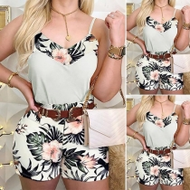 Sexy Backless V-neck Printed Sling Top + Shorts Two-piece Set