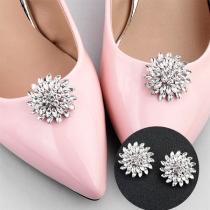 Fashion Rhinestone Sunflower Shaped Shoe Accessories