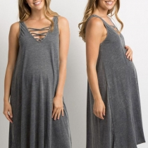 Fashion Sleeveless V-neck Solid Color Maternity Dress