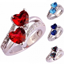 Fashion Rhinestone Inlaid Dual-heart Ring