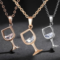 Chic Style Rhinestone Inlaid Wine Glass Pendant Necklace