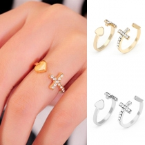 Fashion Rhinestone Inlaid Cross Heart Ring