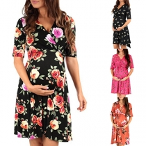 Fashion Short Sleeve V-neck Printed Maternity Dress