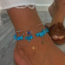 Bohemian Style Colorful Rhinestone Inlaid Beaded Anklet Set 4 pcs/Set