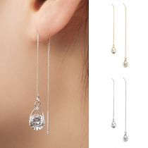 Fashion Rhinestone Pendant Long Tassel Earrings Ear-line
