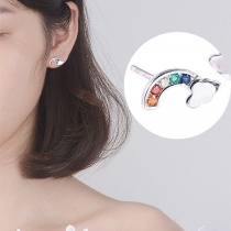 Fashion Colorful Rhinestone Inlaid Rainbow Shaped Stud Earrings