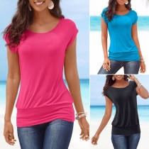 Fashion Solid Color Short Sleeve Round Neck T-shirt