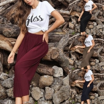 Fashion Solid Color  Pleated Skirt