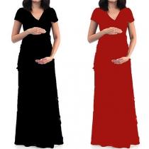 Elegant Solid Color Short Sleeve V-neck Maternity Dress