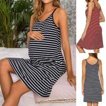 Fashion Striped Sling Dress for Pregnant Women