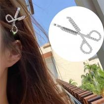 Fashion Rhinestone Inlaid Scissors Shaped Hair Pin