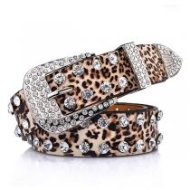 Fashion Rhinestone Inlaid Leopard Waistband