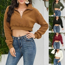 Fashion Solid Color Long Sleeve Plush Crop Top Sweatshirt