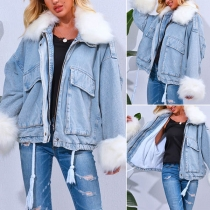 Fashion Faux Fur Spliced Long Sleeve POLO Collar Denim Coat