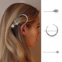 Fashion Rhinestone Inlaid Star Crescent Shaped Hairpin Set 3 pcs/Set