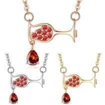 Chic Style Rhinestone Inlaid Wine Glass Pendant Necklace