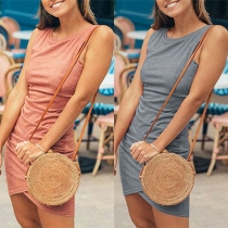 Fashion Solid Color Sleeveless Round Neck Irregular Hem Slim Fit Dress