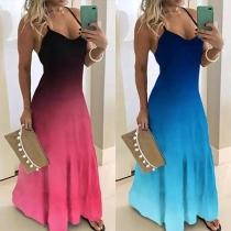 Sexy Backless V-neck Color gradient Sling Dress