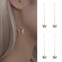 Sweet Style Butterfly Pendant Tassel Earrings