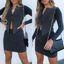 Fashion Long Sleeve Round Neck Zipper Top + Skirt Two-piece Set
