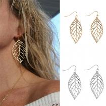 Fashion Hollow Out Leaf Shaped Earrings