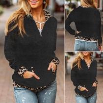 Fashion Leopard Spliced Long Sleeve Stand Collar Sweatshirt Hoodie