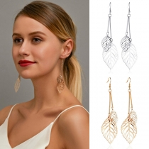 Fresh Style Hollow Out Leaf Pendant Earrings