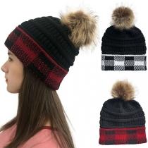 Fashion Hairball Spliced Plaid Knit Beanies