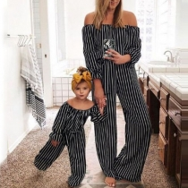 Sexy Off-shoulder Boat Neck High Waist Striped Parent-child Jumpsuit