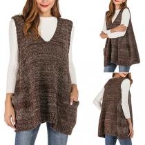 Fashion Mixed Color Sleeveless V-neck Knit Vest