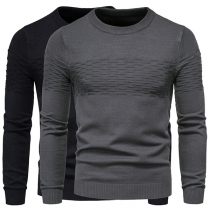 Fashion Solid Color Long Sleeve Round Neck Man's Knit Top
