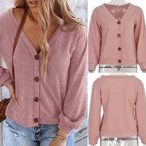 Fashion Solid Color Long Sleeve V-neck Cardigan