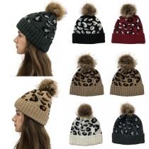Fashion Hairball Spliced Leopard Printed Knit Beanies