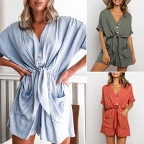 Fashion Solid Color Short Sleeve V-neck Front-pocket Romper