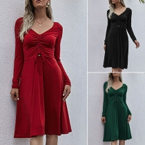 Sexy V-neck Long Sleeve High Waist Solid Color Dress