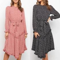 Fresh Style Long Sleeve Round Neck Printed Dress