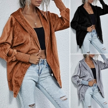 Fashion Solid Color Long Sleeve Hooded Coat