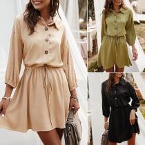 Fashion Solid Color Long Sleeve POLO Collar Shirt Dress