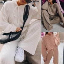Fashion Solid Color Long Sleeve Hooded Knit Top + Pants Two-piece Set