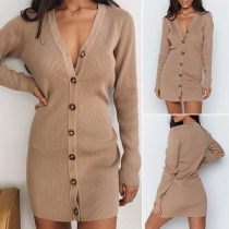 Sexy V-neck Long Sleeve Single-breasted Solid Color Knit Dress