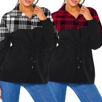 Fashion Plaid Spliced Long Sleeve Stand Collar Sweatshirt