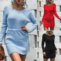 Fashion Solid Color Long Sleeve V-neck Drawstring Waist Knit Dress
