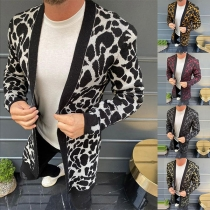 Fashion Long Sleeve Leopard Printed Man's Knit Cardigan