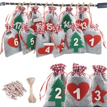 Creative Style Christmas Tree Pendant Candy Bags  Christmas Advent Calendar Bags for Adults and Kids Christms Toys Home Decorations