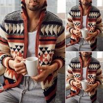 Fashion Long Sleeve Stand Collar Man's Printed Knit Cardigan