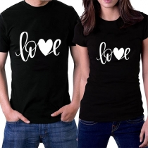 Fashion Short Sleeve Printed Short Sleeve Round Neck Couple T-shirt